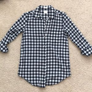 J. Crew boy fit gingham long sleeve button up